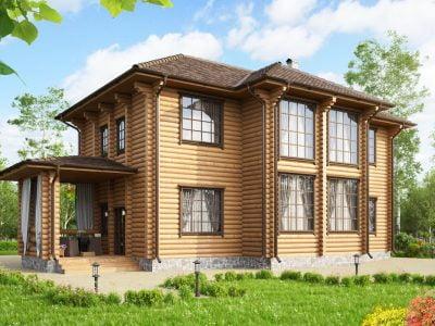 двухэтажный дом из бревна
